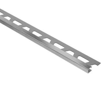 Quadec Brushed Stainless Steel 9/32 in. x 8 ft. 2-1/2 in. Metal Square Edge Tile Edging Trim