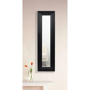 15.5 inch x 39.5 inch Solid Black Angle Vanity Mirror Single Panel by