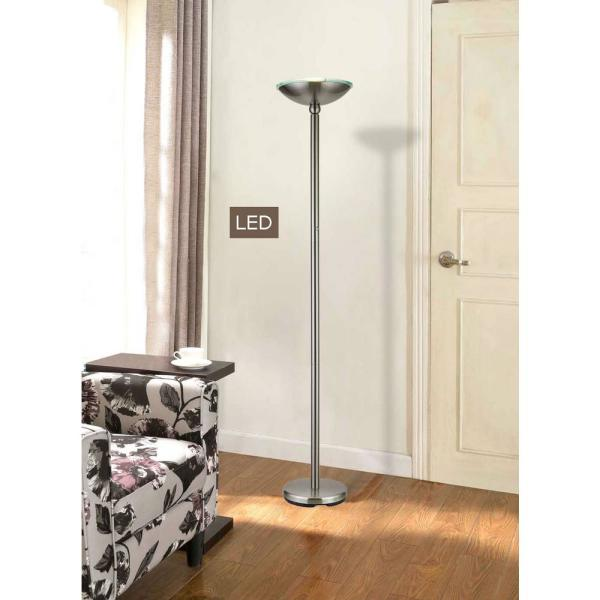 Brushed Steel Led Torchiere Floor Lamp
