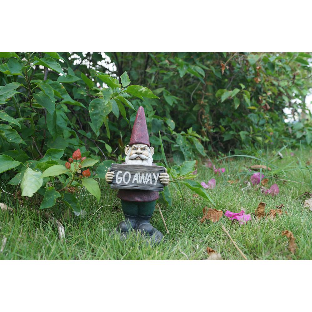 Hi Line Gift Gnome Holds Go Away Sign