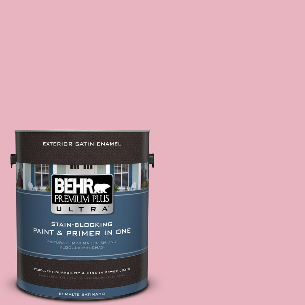 BEHR Premium Plus Ultra 1-gal. #110C-2 Colonial Rose Satin Enamel Exterior Paint, Reds/Pinks