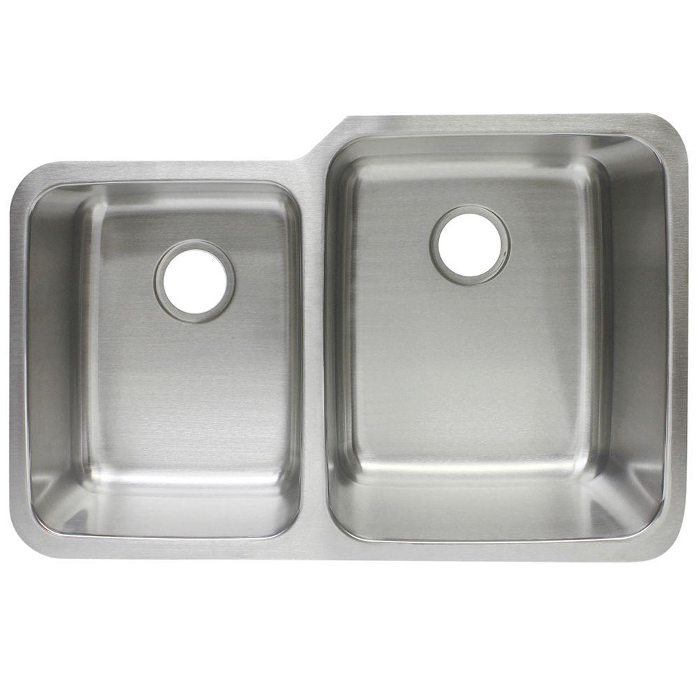Franke Undermount Stainless Steel 21x32x8/10 0 Hole Double Bowl Kitchen Sink FCU120    The Home Depot