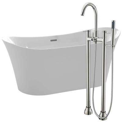 Eft 67 in. Acrylic Flatbottom Non-Whirlpool Bathtub in White with Sol Faucet in Brushed Nickel