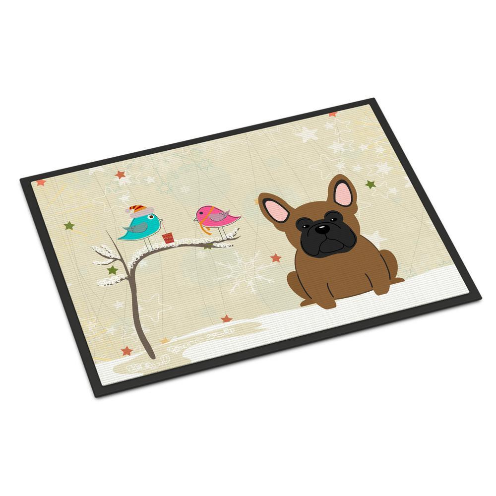 18 in. x 27 in. Indoor/Outdoor Christmas Presents between Friends French Bulldog Brown Door Mat
