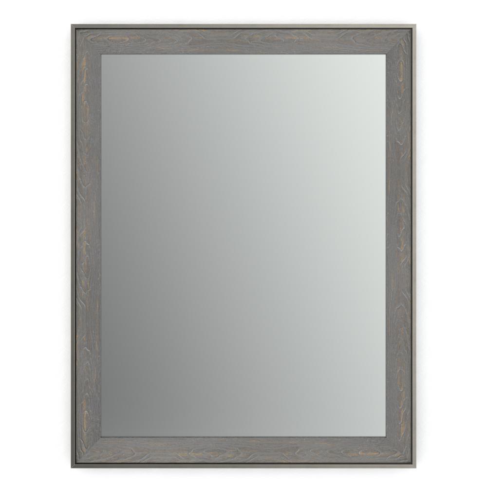 28 in. W x 36 in. H (M1) Framed Rectangular Standard Glass Bathroom Vanity Mirror in Weathered Wood