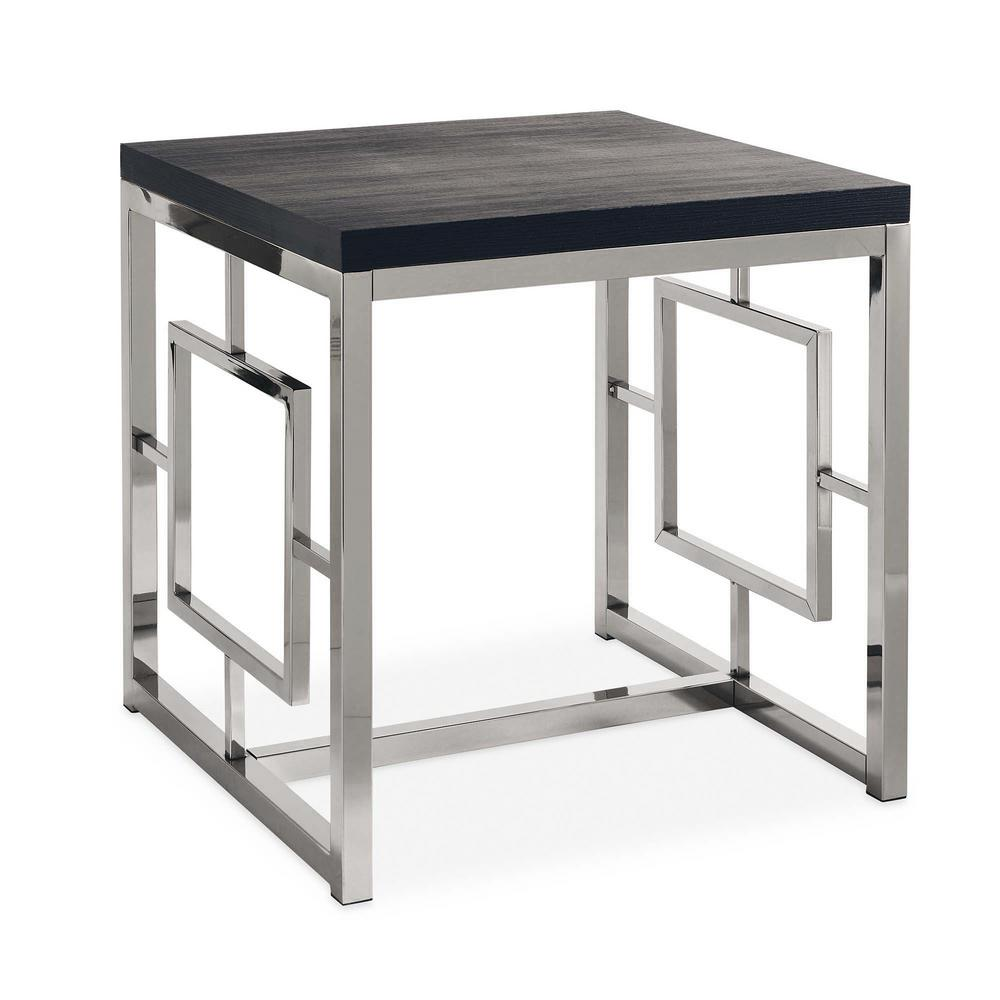 Picket House Furnishings Harper Black/Chrome (Grey) End Table The Picket House Furnishings Harper End Table is modern glam at its best. This square end table will look super chic in your living space. The living room staple features a black table top that pairs beautifully with the chrome finish and will pair with any existing decor and furnishings you already have. The sides of the end table feature an intricate design adding extra flair to this already stylish accent table. Adding this living room staple to your home will instantly add style and glam, a look you'll never get tired of.