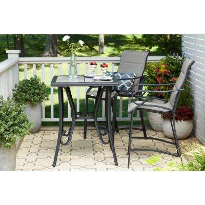 Crestridge 3-Piece Padded Sling Balcony Height Outdoor Bistro Set in Putty