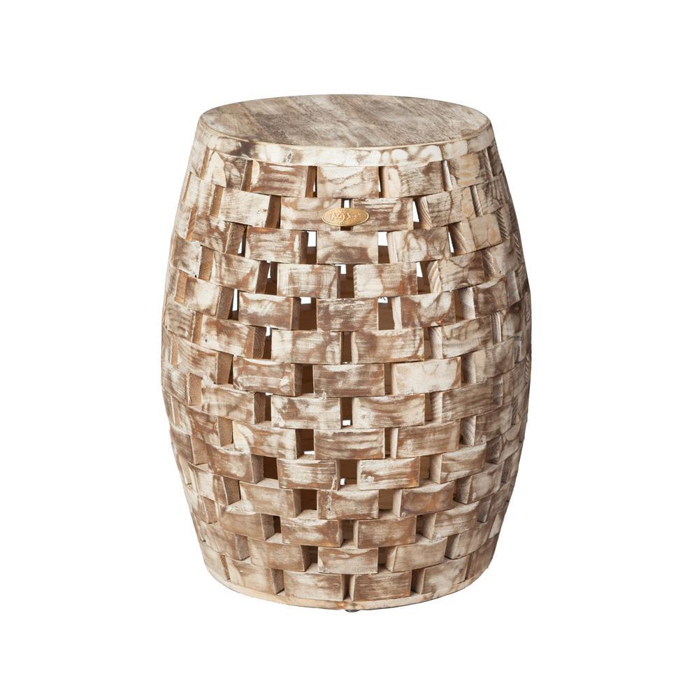 Phenomenal Patio Sense Elyse Round Wood Outdoor Garden Stool 62420 Machost Co Dining Chair Design Ideas Machostcouk