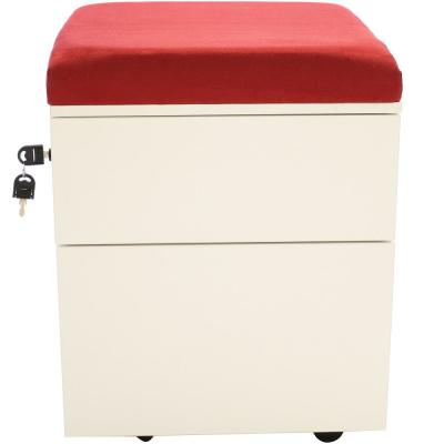 2-Drawer Wheeled White Storage Cabinet with Red Cushion