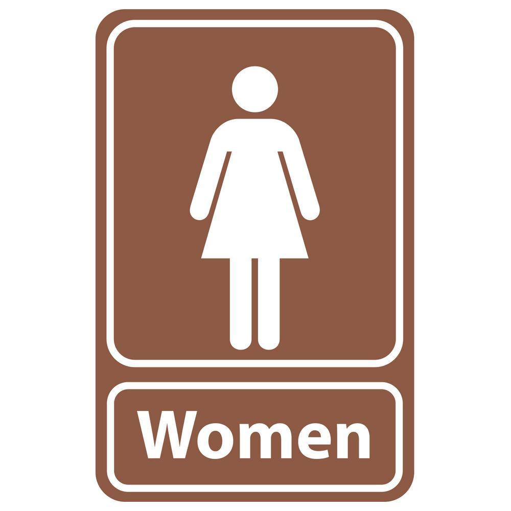 5.5 in. x 8.5 in. Plastic Brown Women Restroom Sign