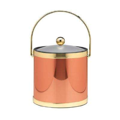 Mylar 3 Qt. Polished Copper and Brass Ice Bucket with Bale Handle and Acrylic Cover