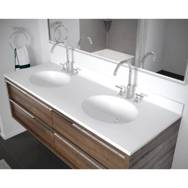 Swan Ellipse 61 In W X 22 In D Solid Surface Double Sink Vanity Top In White Vt2b2261 010 The Home Depot