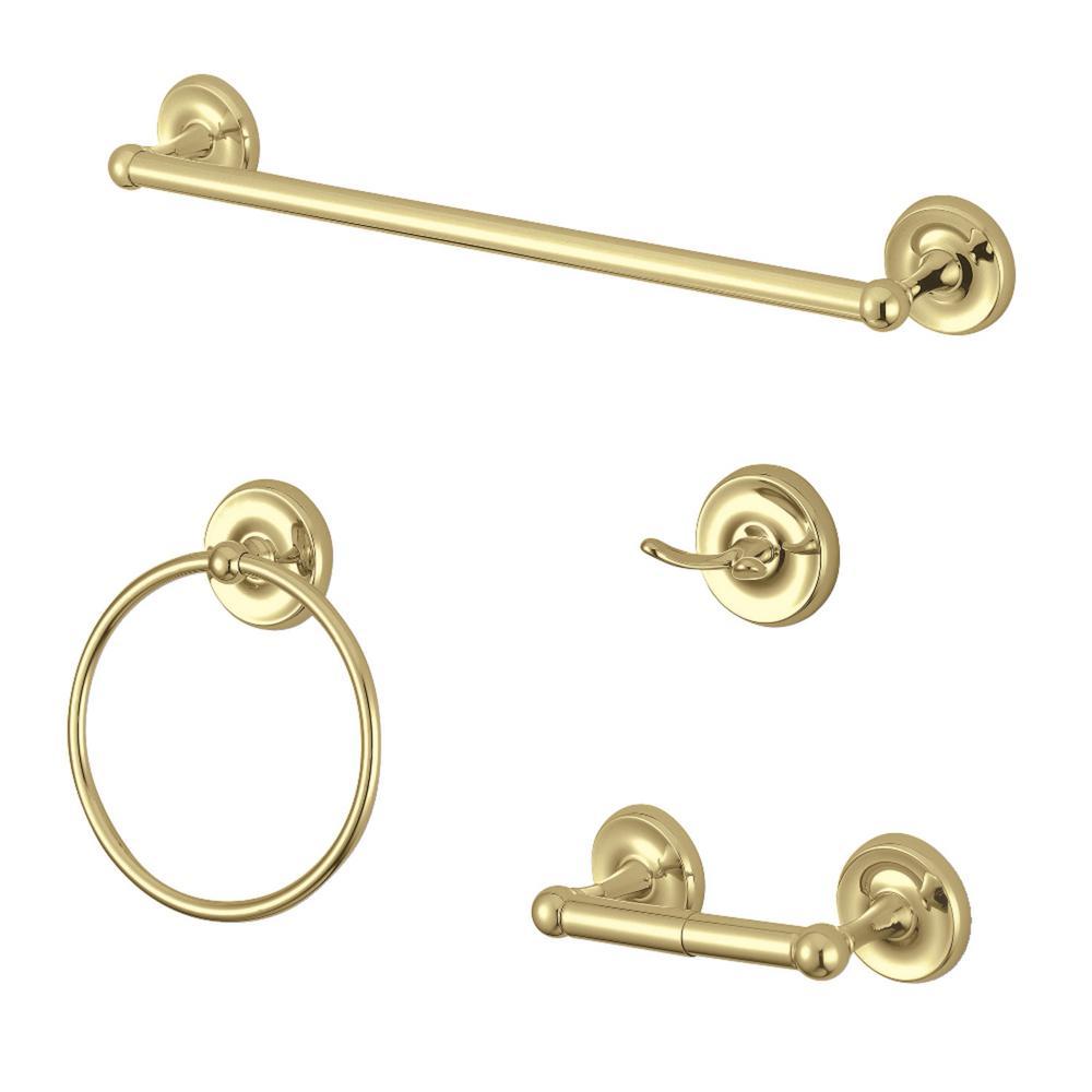 Kingston Brass Traditional 4-Piece Bath Hardware Set in Polished Brass