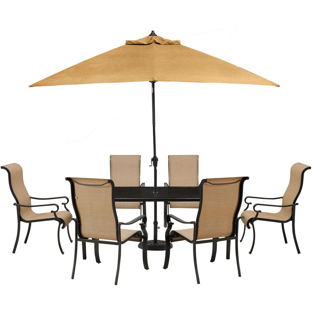 Hanover Brigantine 7 Piece Glass Top Rectangular Patio Dining Set With  Umbrella And Base