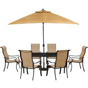 Hanover Brigantine 7-Piece Glass-Top Rectangular Patio Dining Set with Umbrella... by Hanover