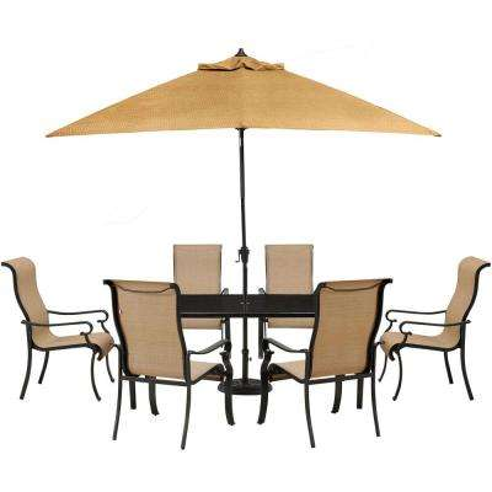 Brigantine 7-Piece Glass-Top Rectangular Patio Dining Set with Umbrella and Base
