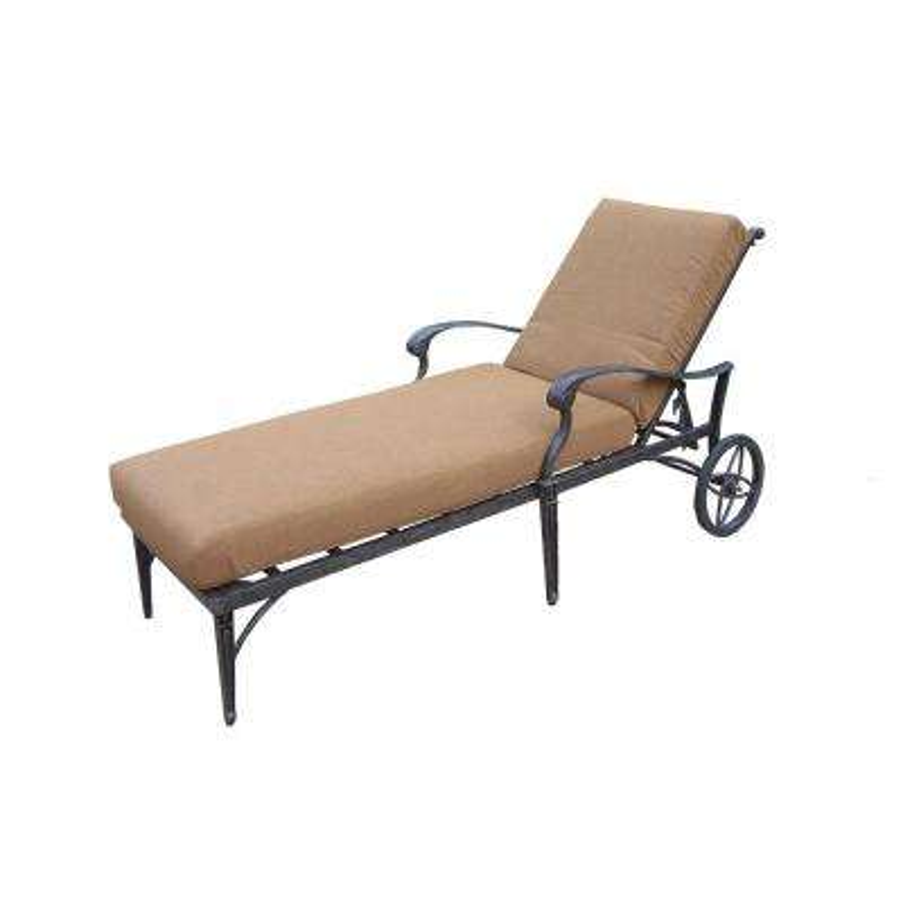 Belmont Aluminum Patio Chaise Lounge with Sunbrella Canvas Teak Cushion