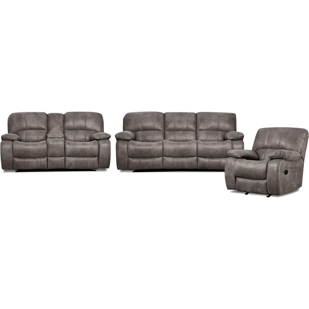 Cambridge Garrison 3-Piece Charcoal Sofa, Loveseat, Recliner Living ...