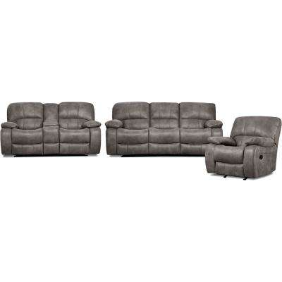Garrison 3-Piece Charcoal Sofa, Loveseat, Recliner Living Set