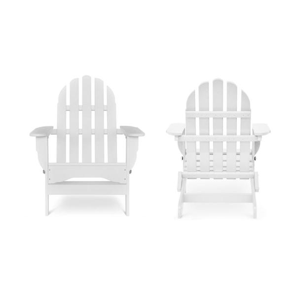 Icon White Recycled Plastic Folding Adirondack Chair (2-Pack)