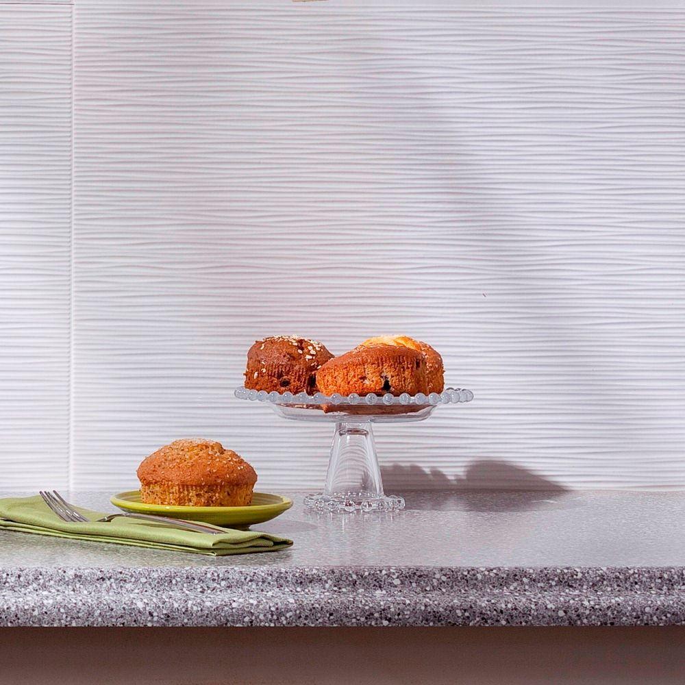 24 in. x 18 in. Ripple PVC Decorative Backsplash Panel in Gloss White