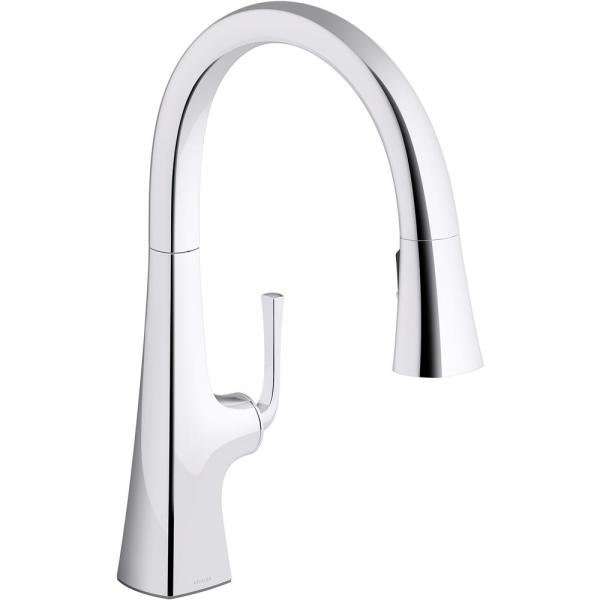 Graze Single-Handle Pull-Down Sprayer Kitchen Faucet with 3-Function Sprayhead in Polished Chrome