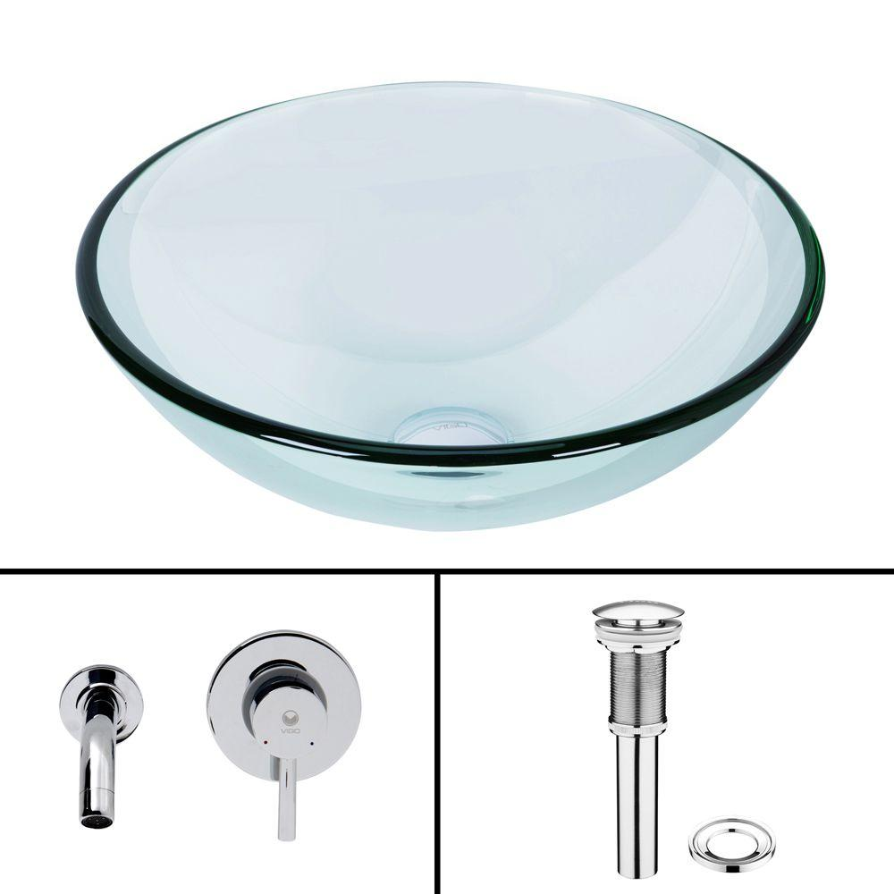 VIGO Glass Vessel Sink in Crystalline with Olus Wall-Mount Faucet Set in Chrome