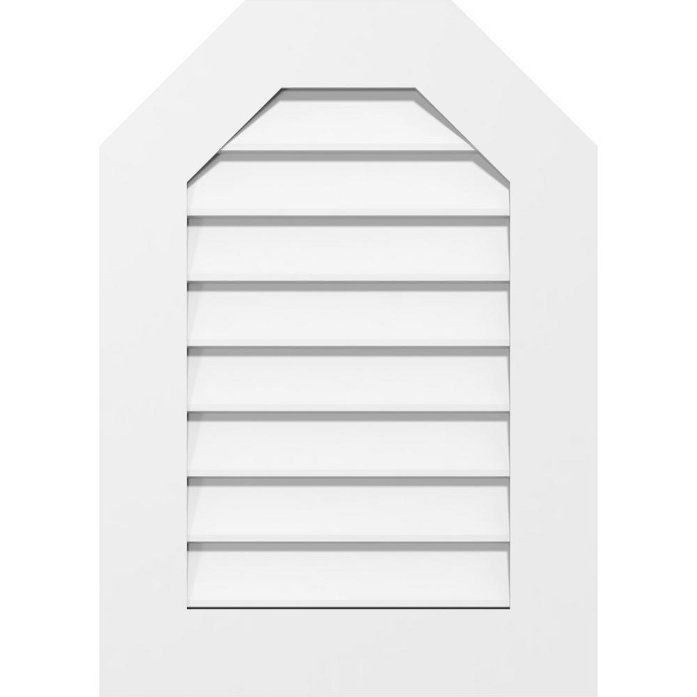 Ekena Millwork 12 In X 16 In Octagon White Pvc Paintable Gable Louver Vent Gvpot12x1601sn The Home Depot
