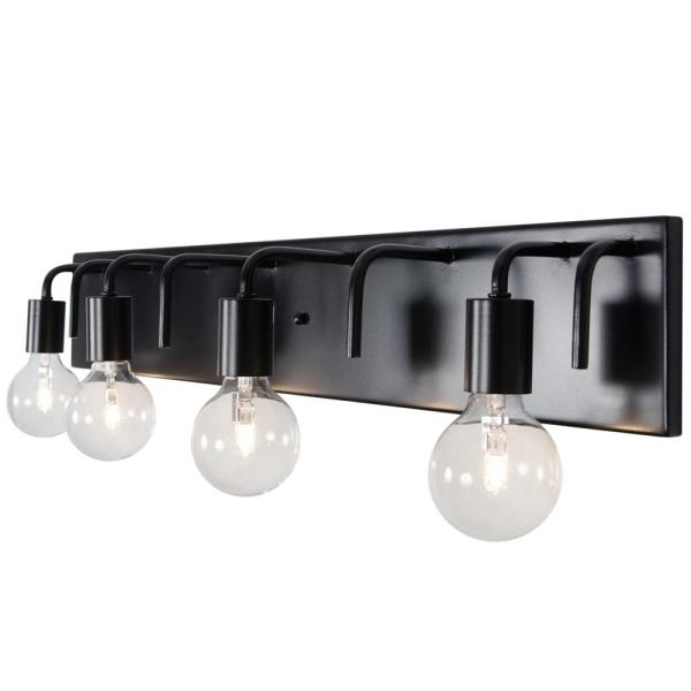 Socket-To-Me 4-Light Black Vanity Light