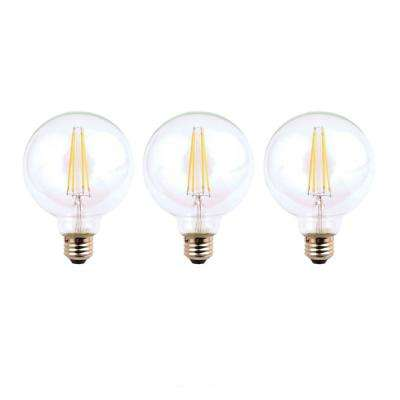 60-Watt Equivalent G25 Dimmable Energy Star Clear Filament Vintage Style LED Light Bulb Soft White (3-Pack)