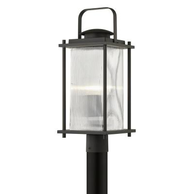 James Hardwired Bay Bronze 4x4 LED In-Ground Deck Post 1-Light with Clear Ribbed Glass Shade