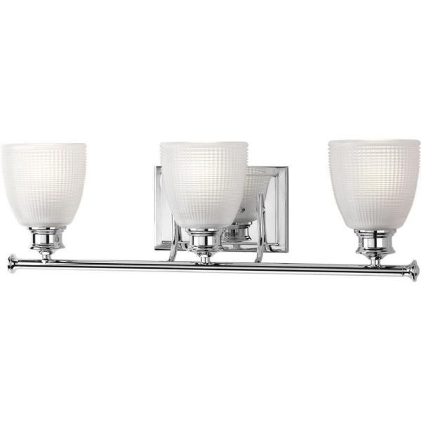Lucky Collection 3-Light Polished Chrome Vanity Light with Double Prismatic Frosted Glass Shades