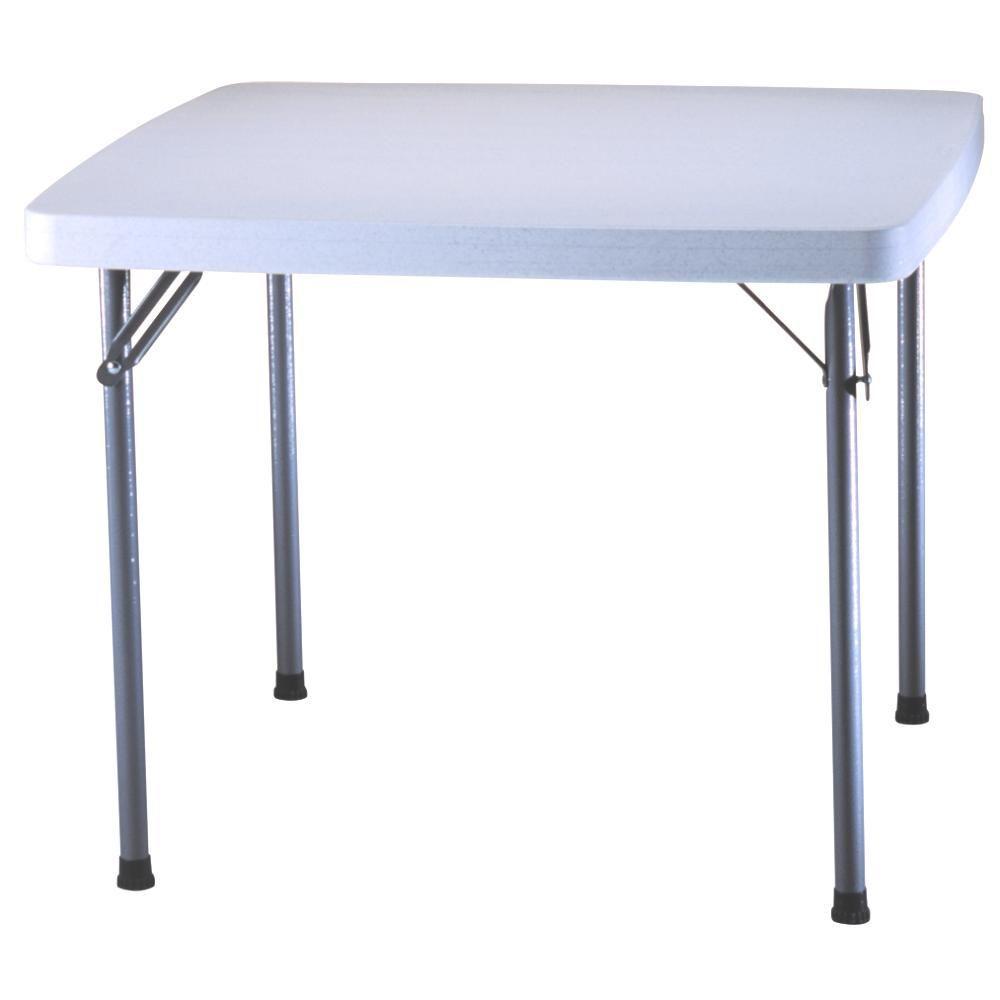 white granite square card table