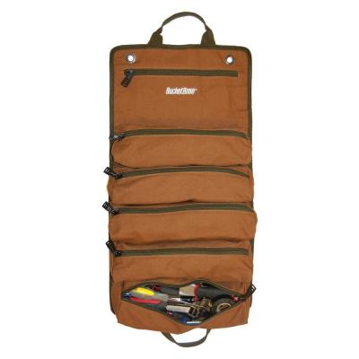 26 in. 6 Zippered Pockets Super Roll Tool Bag in Brown