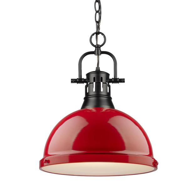 Duncan 1-Light Black Pendant and Chain with Red Shade