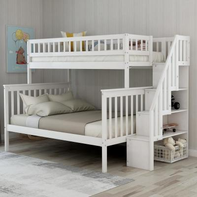 White Twin Over Full Stairway Bunk Bed with Storage