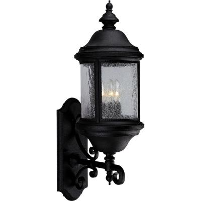 Progress Lighting Ashmore Collection 3-Light Textured Black 26.25 in. Outdoor Wall Lantern Sconce