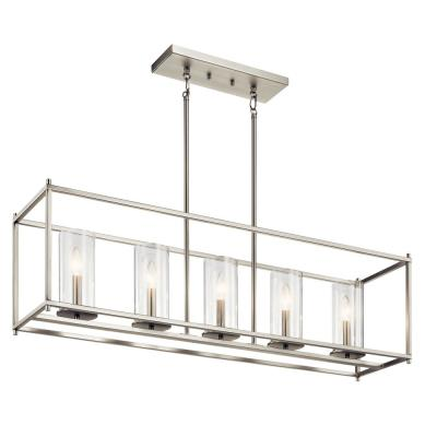 Crosby 5-Light Brushed Nickel Linear Chandelier with Clear Glass Shade