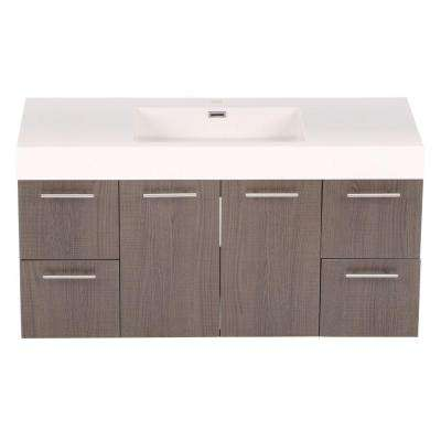 Amare 48 in. Vanity in Grey Oak with Acrylic-Resin Vanity Top in White and Integrated Sink