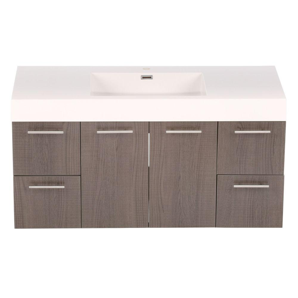 Wyndham Collection Amare 48 in. Vanity in Grey Oak with Acrylic-Resin Vanity Top in White and Integrated Sink