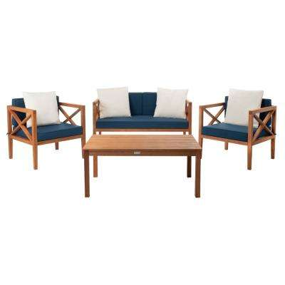 Nunzio Natural 4-Piece Wood Patio Conversation Set with Navy Cushions