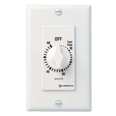 FD Decorator Series 20 Amp 60-Minute In-Wall Auto-Off Spring Wound Timer, White