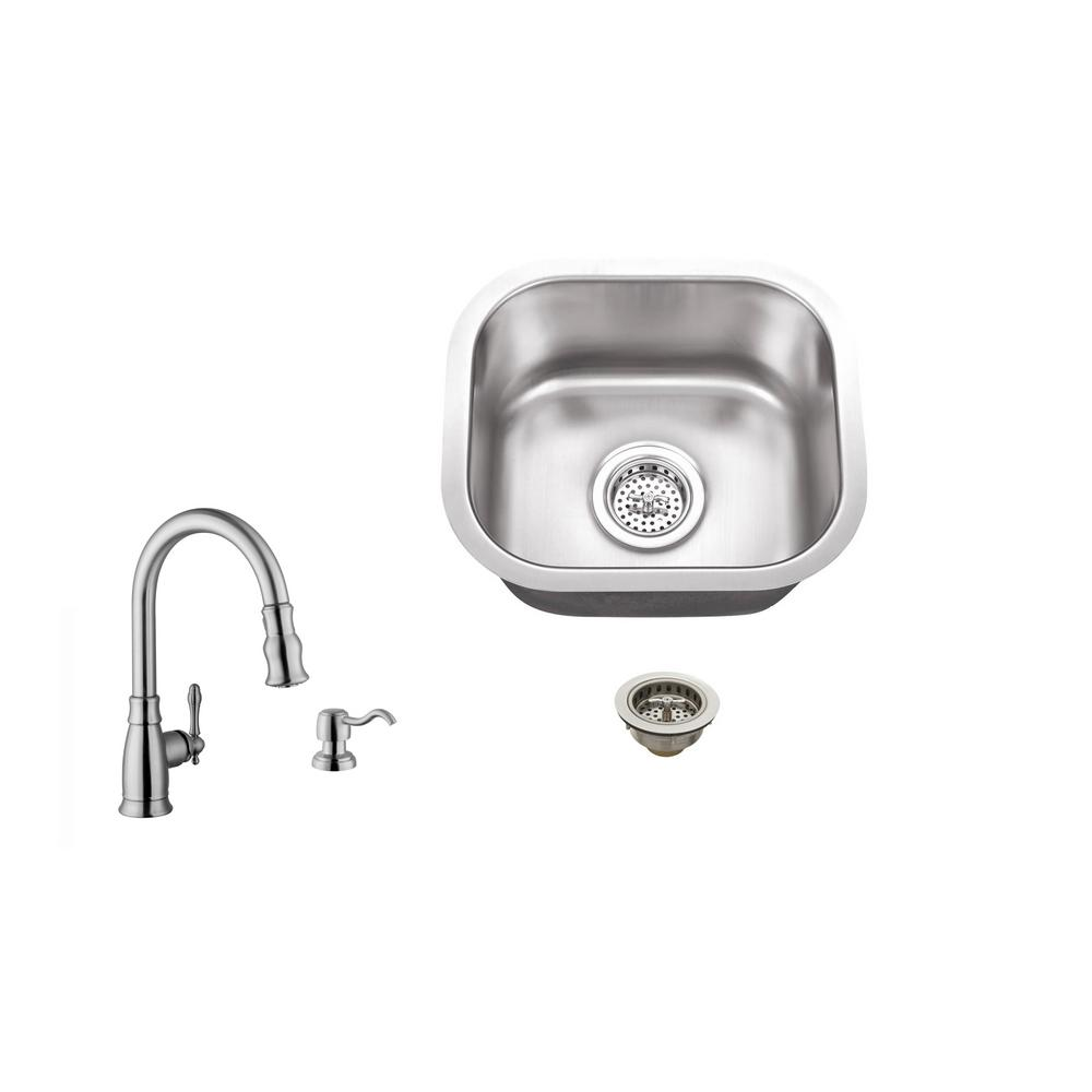 IPT Sink Company Undermount 15 in. 18-Gauge Stainless Steel Bar Sink in Brushed Stainless with Arc Kitchen Faucet