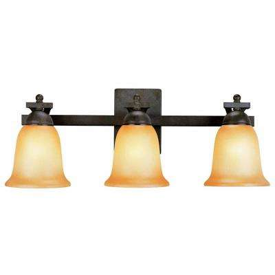 3-Light Rustic Iron Vanity Light with Antique Ivory Glass Shade