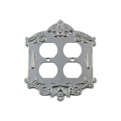 Victorian Switch Plate with Double Outlet in Bright Chrome