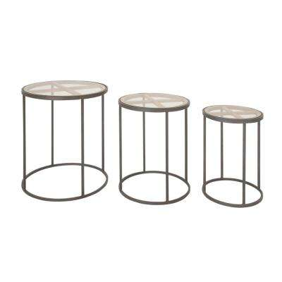 Modern Iron and Glass 3-Piece Nesting Cylindrical Accent Table