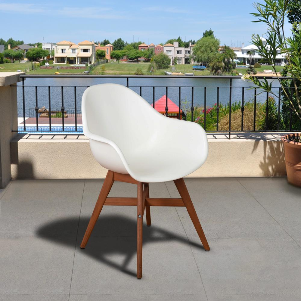 Amazonia Carilo Deluxe White Dark Legs Wood Outdoor Dining Chair (4-Pack)