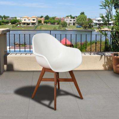 Carilo Deluxe White Dark Legs Wood Outdoor Dining Chair (4-Pack)