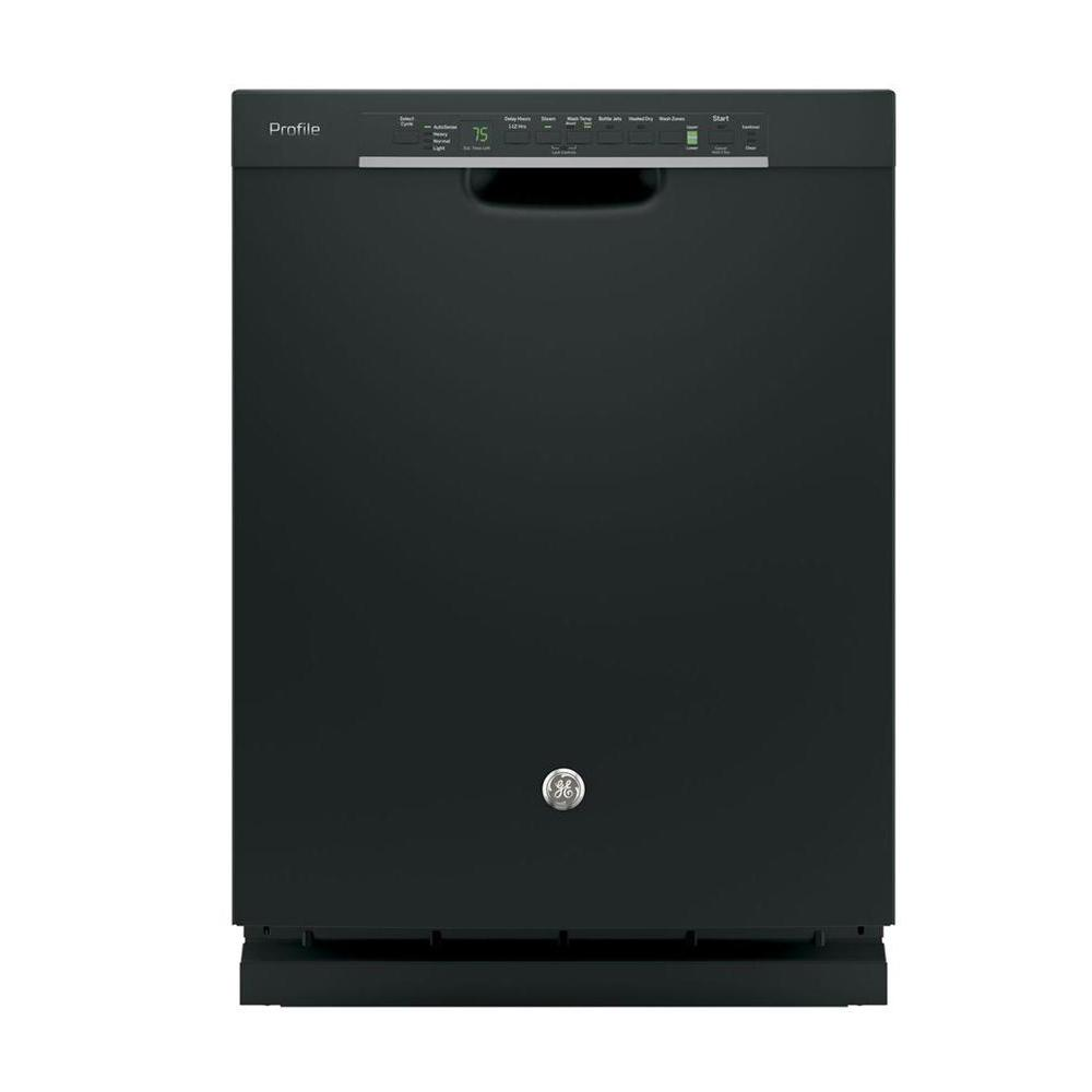 Front Control Built-In Tall Tub Dishwasher in Black with Stainless Steel