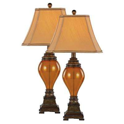 30.5 in. Walnut Table Lamp with Amber Glass - Set of 2